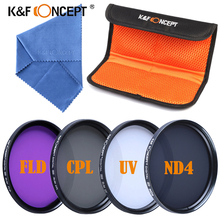 CPL UV  FLD ND4 40.5mm Protector Filter Kit +Lens Cleaning Cloth For Canon 600D 700D /For Nikon DSLR Camera K&F Concept Filter