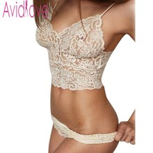Buy Avidlove 2018 summer female lingerie sexy lace bras black gather push women underwear bra set transparent lace bra anty set