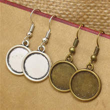 40pcs/lot 14mm Antique Bronze Alloy Round Dangle Earrings Hooks Cabochon Base Setting DIY Jewelry Findings Making Fittings T575