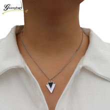 1PCS Silver Plated Triangle Arrow Pendant Necklace Fashion Jewelry Charm Chain Necklace For Women Jewelry Gift Bijoux Collar
