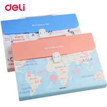 Deli Poly Expanding File Folder document Bag A4 Organizer Paper Holder Document Folder School Supplies business folder(China)