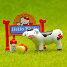 New Kawaii Arrivals Full Set Hello Kitty PVC Figures Toys Farm Edition Signpost Garden Miniatures KT & Dairy Cow Toy