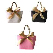 10pcs Portable Kraft Paper Bag Wedding Party Favors Candy Handle Bags With Ribbon Baby Shower Gift Wrapping