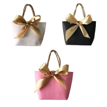 10pcs Portable Kraft Paper Bag Wedding Party Favors Candy Handle Bags With Ribbon Baby Shower Gift Wrapping(China)