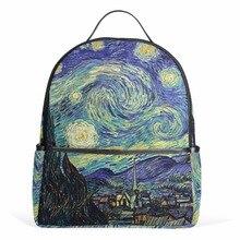 Starry Night Backpack Van Gogh Oil Painting Female Women Bags Notebook Zipper bags Teenager Girls Boys School Bag 12inch