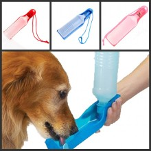 350ml Potable Pet Dog Cat Water Feeding Drink Bottle Dispenser Pet Portable Water Dispenser Blue/Red/Pink(China)