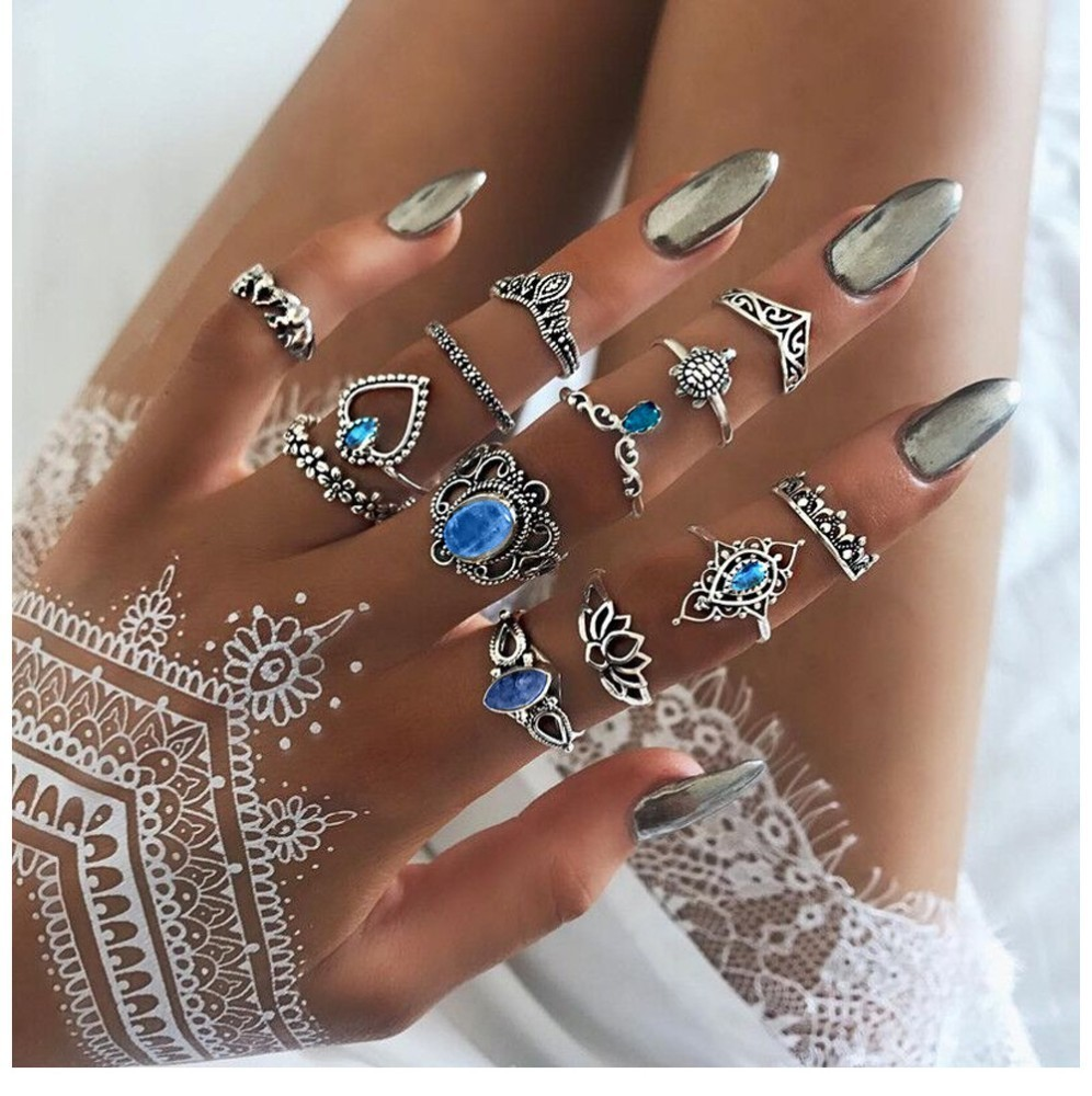 Bague Femme Vintage Rings for Women Boho Geometric Flower Crystal Knuckle Ring Set Bohemian Midi Finger Jewelry Silver Color 43