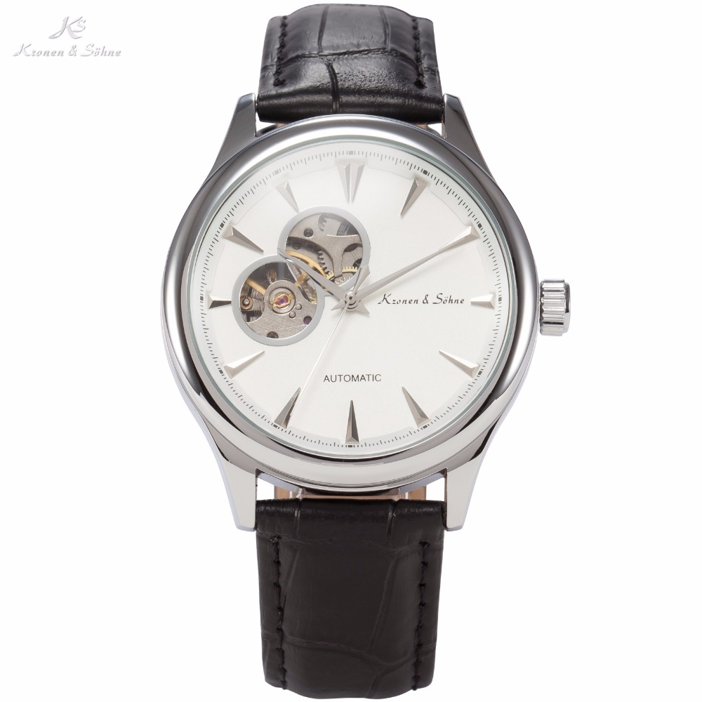 KS Mens Automatic Mechanical Relogio White Skeleton Steampunk Style Dial Leather Band Analog Self Wind Casual Wrist Watch /KS297<br><br>Aliexpress