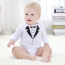 Mother Nest Baby Boy Bodysuit Gentleman Style Spring 2018 Cotton Long Sleeve Newborn Clothes Infant Jumpsuits Underwear Kigurumi(China)
