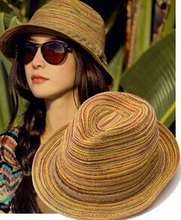 sombreros women summer hat,girls colorful straw sunhats Jazz Hat beach hats for women,chapeu feminino, chapeau de paille femme(China)