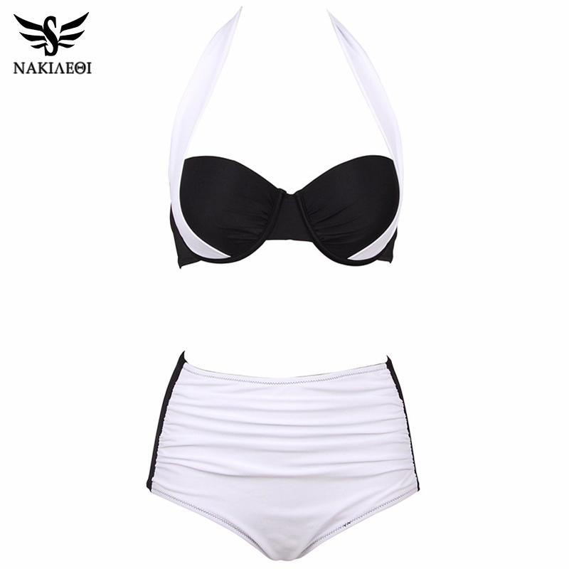 NAKIAEOI 19 New Sexy Bikinis Women Swimsuit High Waisted Bathing Suits Swim Halter Push Up Bikini Set Plus Size Swimwear 4XL 28