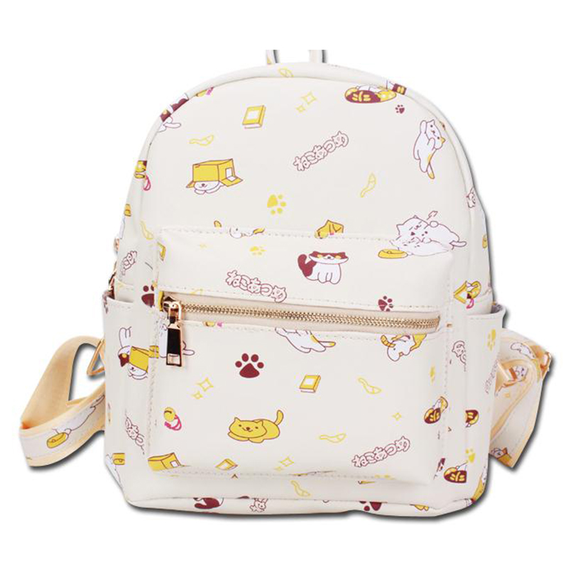 New Arrival Trend Women Backpacks Cat Backyard Printing Harajuku PU Backpack Girls School Bags Cartoon Mochila<br>