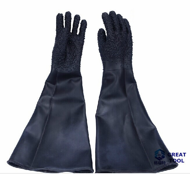 Free shipping Professional sandblasting machine glove protective glove 65cm length, latex industrial gloves<br><br>Aliexpress