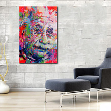 1 Pcs Color Einstein Face Street Graffiti Wall Art painting Abstract Figure Picture Print on Canvas for Home Wall Decor No Frame(China)