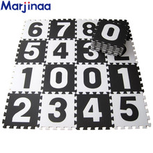 Marjinaa EVA 10pcs/pack Baby And Children Play Floor Mat Environme numbers/letter foam mat Black&White pad floor for baby games