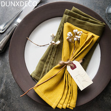DUNXDECO 41x41CM Modern Elegant Yellow Dark Green Cotton Linen Look Table Placemat Coffee Store Home Table Mat Napkin Photo Prop