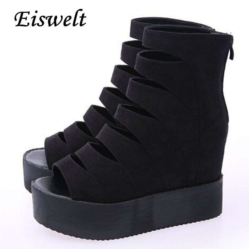 Summer Platform Gladiator Sandals 2016 Mid-Calf Women Boots Casual Creepers Shoes Woman Cut-Out Flats New Women Shoes#HDS97<br><br>Aliexpress