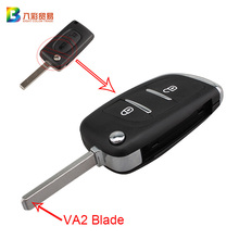 2Buttons Modified Remote Flip Folding Key Shell Case For Citroen C2 C3 C4 C6 Berlingo VA2 Blade Fob Cover With Logo