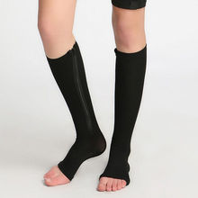 1Pair New Breathable Women Men Unisex Slim Leg Support Open Toe Zipper Compression Winter Warmer Knee Socks 2016 Hot