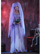 MOONIGHT Purple Gothic Ghost Bride Costumes For Women Halloween  Cosplay Adult Funny Dress