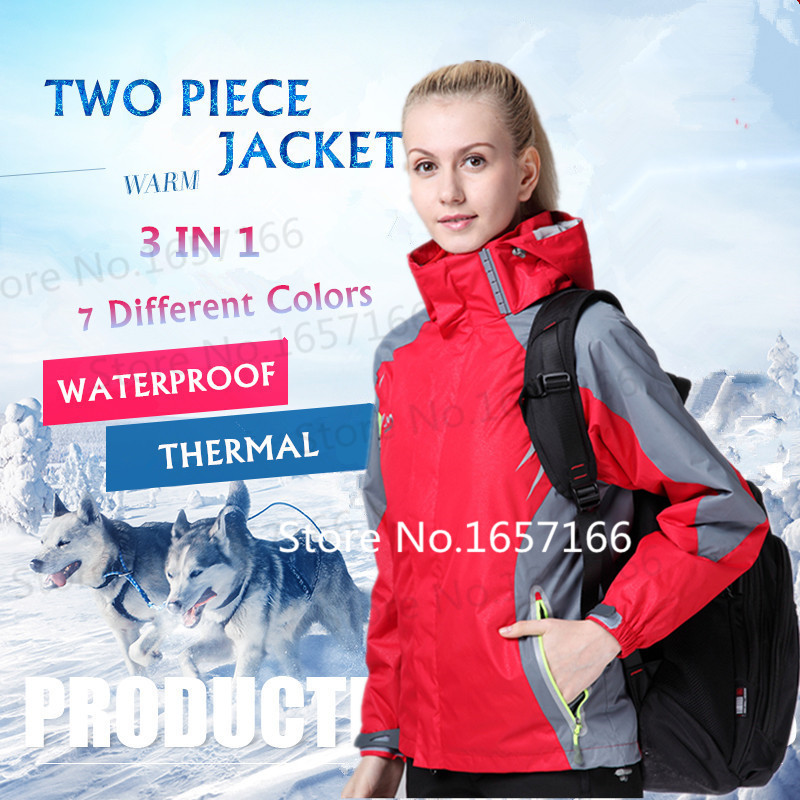 3 in 1 women outdoor waterproof jacket hiking camping senderismo chaqueta cortavientos mujer sport feminina windproof ski jacket<br><br>Aliexpress