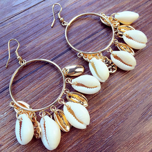 Fashion Women Bohemian Style Cowary Shell Big Circle Drop Earrings High Quality Man-made Ivory Shell Dangle Earrings