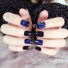 Hand Made Fake Nails Short 24pcs Star Stickers Surface Blue Green Short Full Acrylic Tips for Finger unhas christmas decorations