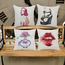 Hot Sale French Perfume Girl Linen Cushion Without Core Home Decor Decorative Throw Pillows 45*45cm Car Office Seat Cushions