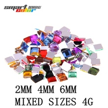 Nail Rhinestones FlatBack Square 2mm 4mm 6mm Mixed sizes 4g About 180pcs For Crafts Scrapbooking DIY Clothes Nail Art Decoration(Hong Kong)