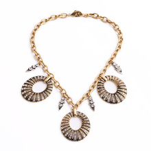 Bohemia Exaggeration Accessory Jewelry For Women Diamante Big Pendant Hoop Necklace 2015(China)