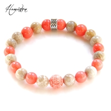 Thomas Colorful Material Mix Featuring Pink Coral Stone Hieroglyphic Bead Bracelet, Mysterious Jewelry Gift for Women TS B357