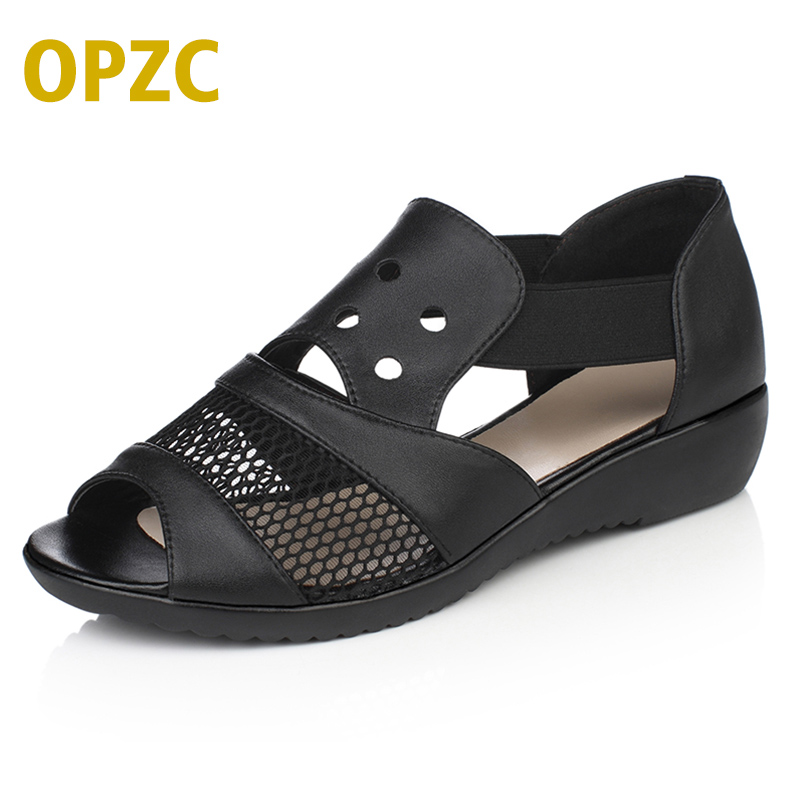 OPZC High quality Genuine Leather woman sandals soft Casual women flats Summer Hollow Women Shoes Flat Bottom Mother Shoes Mujer<br>