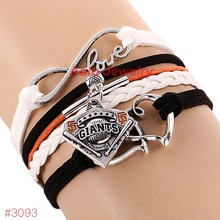 MLB Infinity Love San Francisco Giants Baseball Team Bracelet 2016 New Leather Bracelet Fans Jewelry 6Pcs/Lot ! Free Shipping!