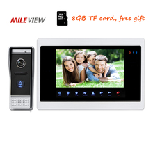 "Free Shipping 720P AHD HD 10"" Color Video Door Phone Intercom Unlock Record System Night Vision Doorbell Camera Motion Detection(China)"