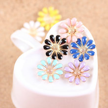 Free Shipping Mini Order 20PCS 18MM Daisy Flower Charm Buttons Oil Drop Gold Tone Plated Alloy Jewelry Decoration Enamel Charms