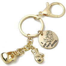 Boxing Glove Keychain Wallet CrossFit Gold I am Very Strong Charms Key Ring Car Purse Bag Buckle Pendant Women Gym Jewelry
