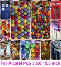 Cute Painted Hard Phone Case For Alcatel One Touch Pop 3 5.5 5.0 Case Back Cover Bag Multi Styles Dream Catcher Telephone Booth