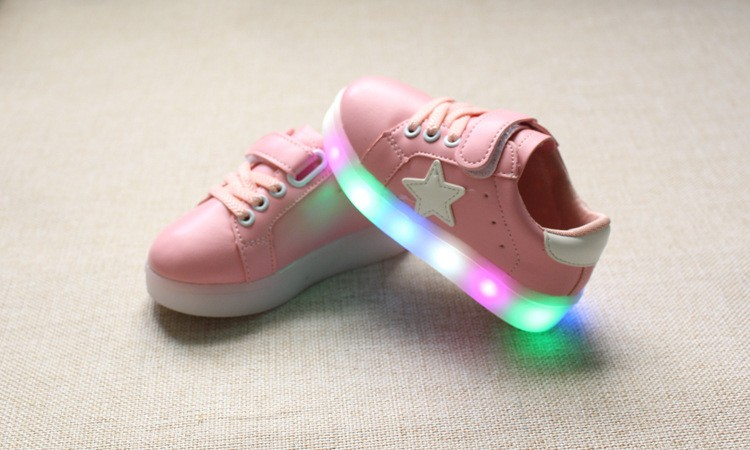 New 17 Cool LED lighted fashion new brand breathable children shoes cute little baby girls boys shoes kids sneakers 16