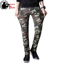 Mens Winter Warm Cargo Pants Military Style Camo Fashion Slim Fit Male Trousers Thick Fleece Camouflage Clothing Tights Joggers(China)