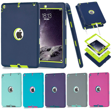 Cover For Apple iPad Air / iPad 5(2013) Amor Shockproof Heavy Duty Rubber&Plastic Case Cover w/Screen Protector+Stylus Pen