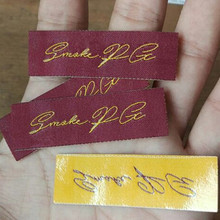 Custom hot iron on wine woven label Straight cut tags hot melt glue heating(China)