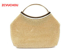 Silver/Gold Handle Messenger Bags For Wedding Party Evening Bags Small Purse Full Rhinestones Bags With Handle Evening Bags