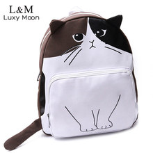 2017 Cute Cat Canvas Backpack Women Fashion Funny Cartoon Printing School Bag Teenage Girls Students Rucksack mochila XA79H - ONTIME FASHION store