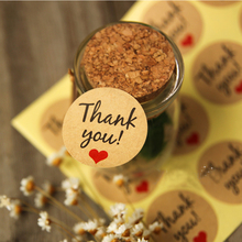 600pcs/lot Round Kraft Paper Seal Sticker Red Black ''Thank You Heart'' Holiday Stickers Packaging Label Material Supplies Z148(China)