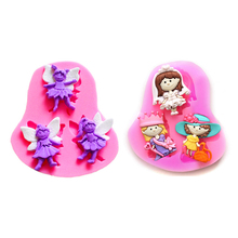 Free shipping three Fairy cooking tools wedding decoration Silicone mold baking Fondant Sugar Craft Molds DIY Cake fimo