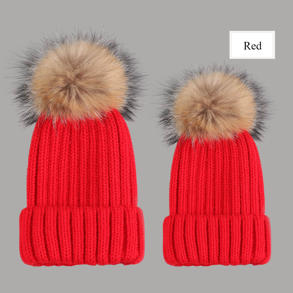 beanies with pompom thick red