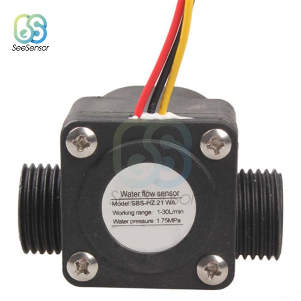 Water Flow Control Switch Hall Effect Sensor Flowmeter Counter 1-30L//min 1.75Mpa