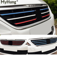 Front Grille Molding Lid Trim Air Intake Grid Strip Middle Net Decorative Sticker for New Peugeot 408 2014 2015 2016