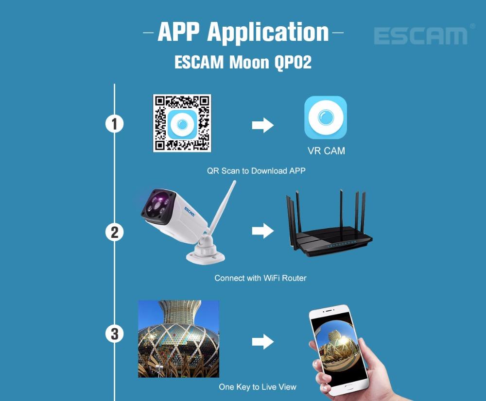 Escam Moon QP02 2MP HD 1080P WIFI Alarm Camera Outdoor Bullet IR-Cut 180 degree Security ip Camera Support Max 64G TF card (12)