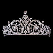 Silver Plated Wedding Prom Queen Rhinestone Tiaras Crowns Head Jewelry Crystal Bridal Hair Accessories For Women
